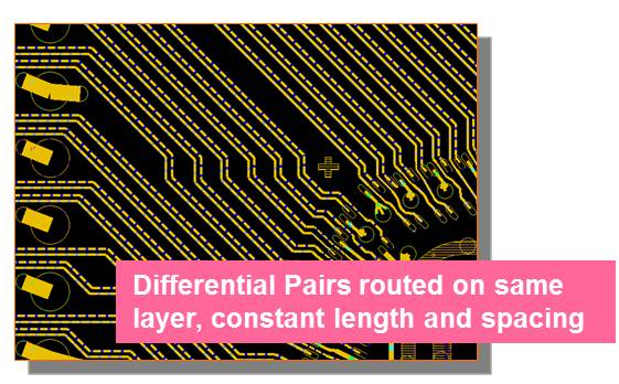 Differential Pairs routed on same layer, constant length and spacing